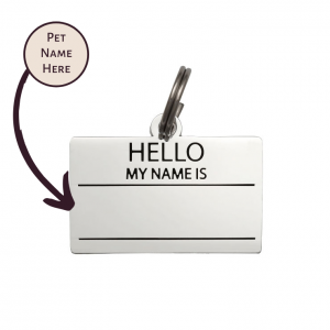 Pet ID Tag – Hello My Name is Blank – Silver