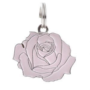 Pet ID Tag – Rose – Pink & Silver