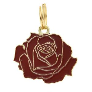 Pet ID Tag – Rose – Red & Gold