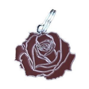 Pet ID Tag – Rose – Red & Silver